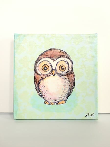 Ready to Ship 8x8 canvas: Owl (Round Head) with mint background