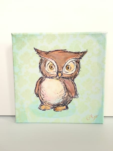Ready to Ship 8x8 canvas: Owl (horned) with mint background