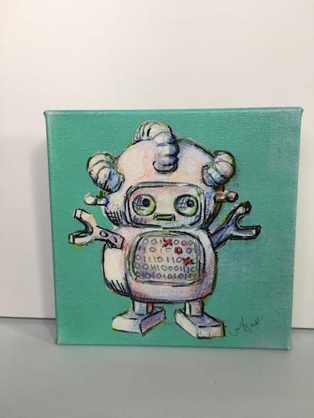 Ready to Ship 8x8 canvas: Robot