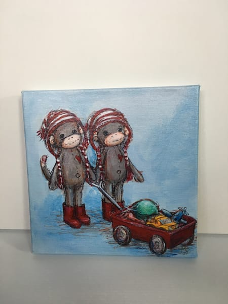 Ready to Ship 10x10 canvas: Twin sock monkeys and wagon