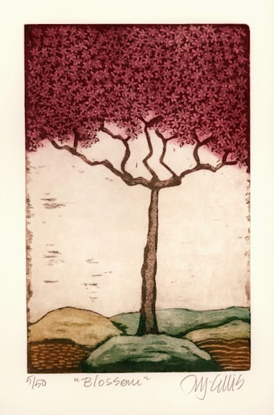 Pink Blossom - aquatint etching