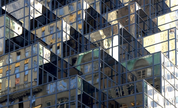 Angular architectural photograph with reflections from New York City fine Art Prints for sale by Michael Toole.