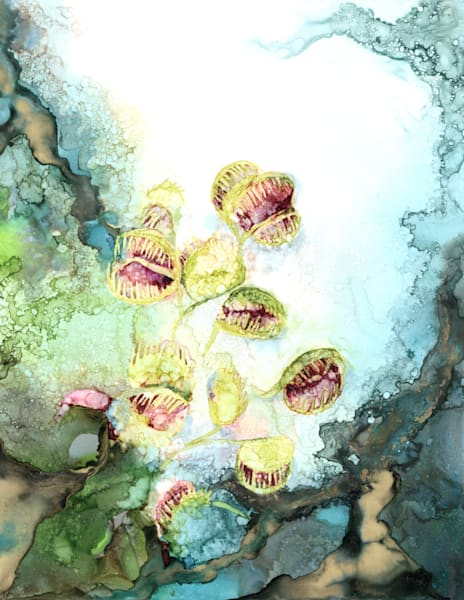 Plants/Flowers, alcohol ink art, Heidi Stavinga reproductions