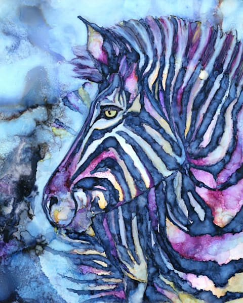 nina, alcohol ink art  - zebra painting - heidi stavinga