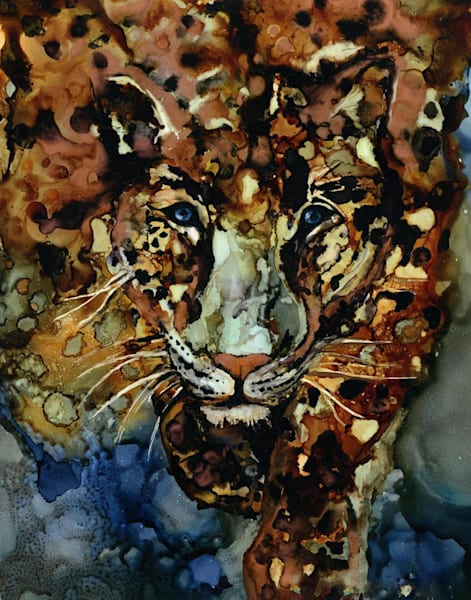 jaguar art print, alcohol ink painting reproduction by Heidi Stavinga Studio