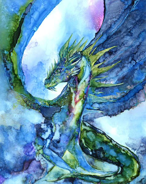 Dragon painting, alcohol ink art print