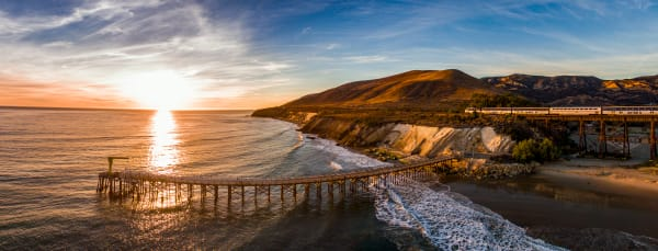Gaviota Pier and Surfliner Panorama