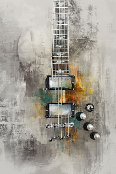 Electric Guitar - Light Version - Painted Art Print