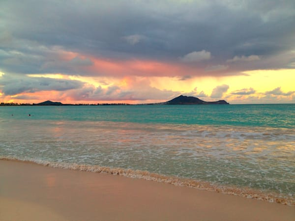 A terrific morning for color on the Castles end of Kailua Bay! Robert Abbett Art!