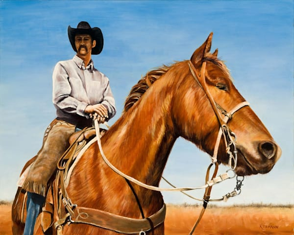 Fine art print of cowboy on a horse