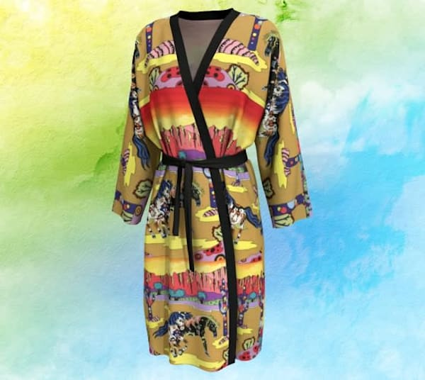 Playful Horses Long Robe