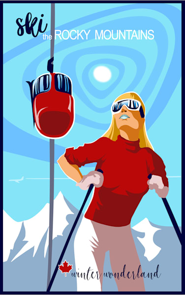 Retro Rocky Mountain travel poster winter alpine ski art with Ski Bunny and Mountains available as prints. Click to purchase.