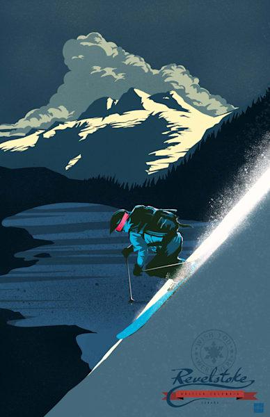 Retro scenic Revelstoke alpine downhill powder skiing, winter sport, sunset, ski art by Sassan Filsoof, click to purchase.