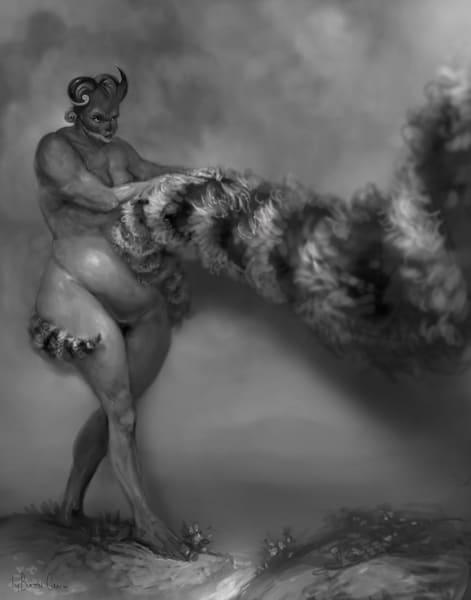 Ogre With Fury Striped Tail Art | Burton Gray