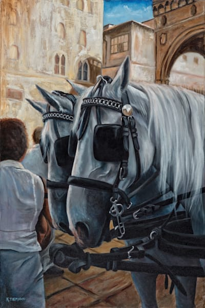 Fine art oil painting of two white horses at a wedding