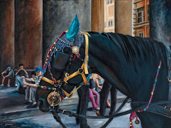 Black Draft Horse at the Pantheon, Fine art print, Rome, Italy
