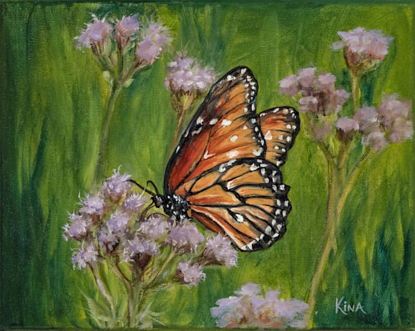 Fine art print of monarch butterfly oil painting