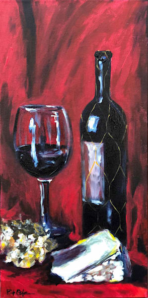Red Wine and Cheese on Red | Fine Art Painting Print by Rick Osborn