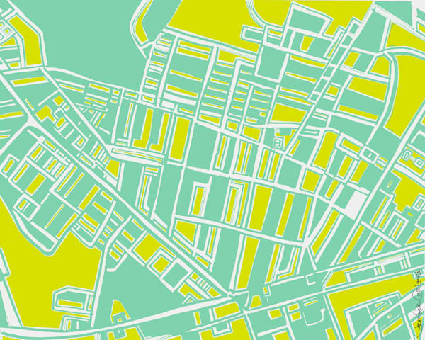 Abstract Map Prints of Pittsburgh Neighborhoods – Digitally merged illustrations and paintings – Available as Art Prints on Canvas, Paper, Metal & More
