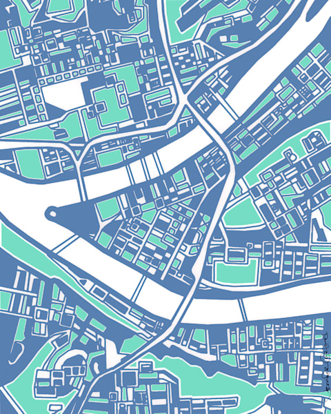 Abstract Map Prints of Pittsburgh Neighborhoods | Digitally merged illustrations and paintings | Available as Art Prints on Canvas, Paper, Metal & More