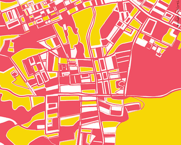 Abstract Map Prints of Pittsburgh Neighborhoods | Digitally merged on