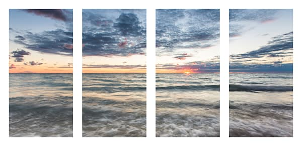 Lake Michigan Sunset Quadtych
