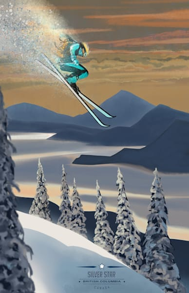Retro modern Okanagan lake Silver Star alpine powder skiing Ski art by Sassan Filsoof available as fine art prints. Click here!