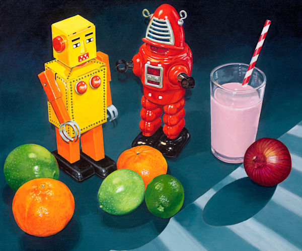 Two robots some fruit, a strawberry milk and an onion - Original