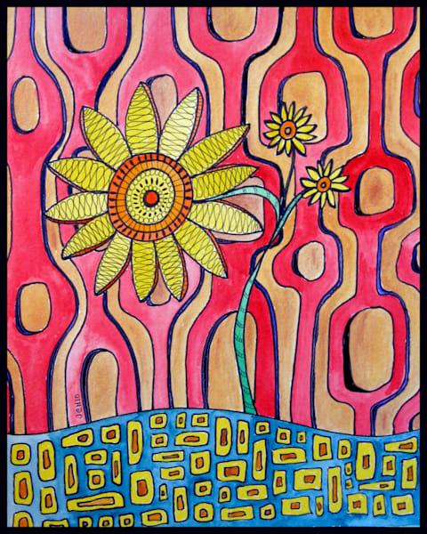 Retro Sunflower Art For Sale