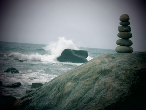 Cairn and Crashing Wave