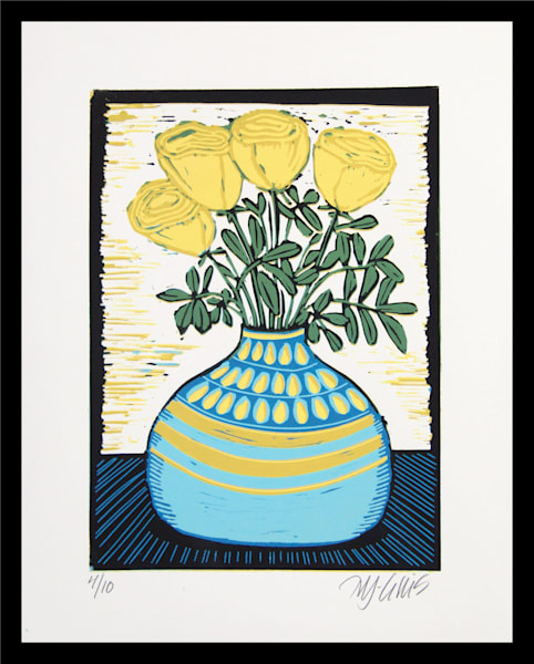 yellow roses in a blue vase, a linocut reduction original print by Mariann Johansen-Ellis, art, paintings