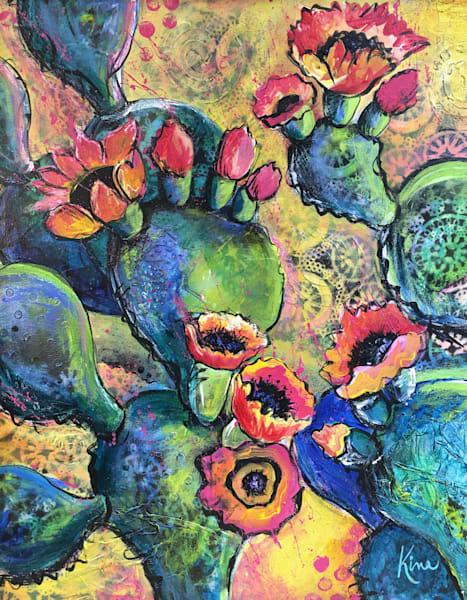 Mixed media art painting of blue cactus with gold background