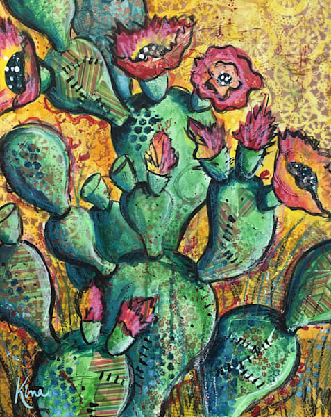 Mixed Media Art Painting of Green Cactus with yellow background
