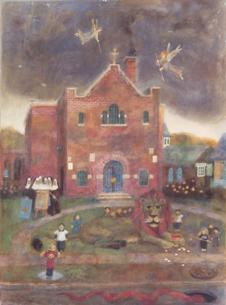 Blessed Sacrament School magic realist painting -original
