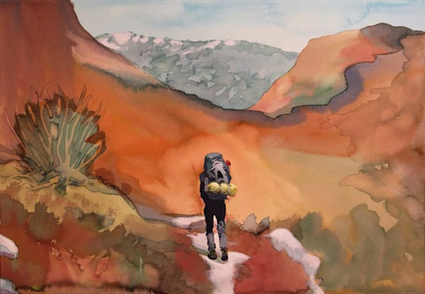 Hetch Hetchy Hiker 2  Landscape Painting by Michael Serafino on Wet Paint NYC -  Prints on Canvas, Paper or Metal
