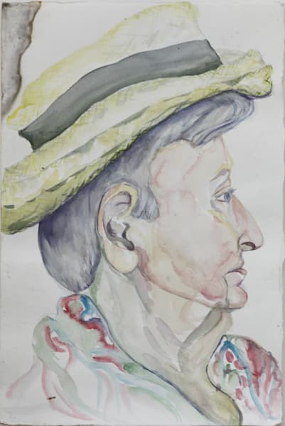Watercolor portrait profile art