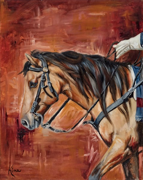 Fine art print, oil painting of United States Military horse.