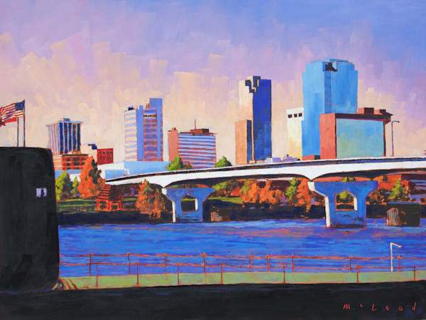 Little Rock Skyline From The USS Razorback, art print from original oil on panel by artist Matt McLeod.