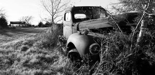 Farm Truck Overgrown In The Pasture Dramatic black-and-white fleblanc