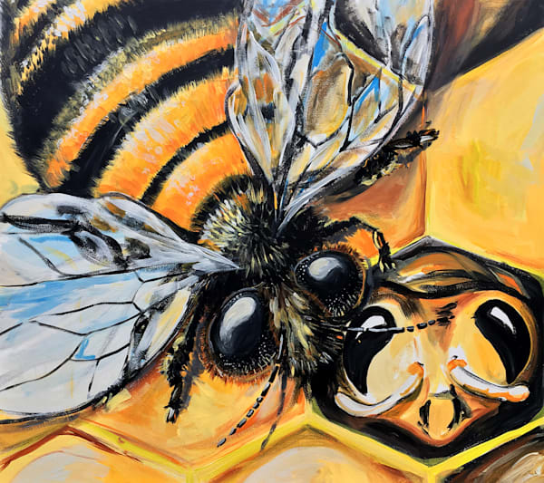 Nurturer Painting | Fine Art Prints of Bees | Bee hive Art | Bold Art by Tif Choate | Snaiil Candy art