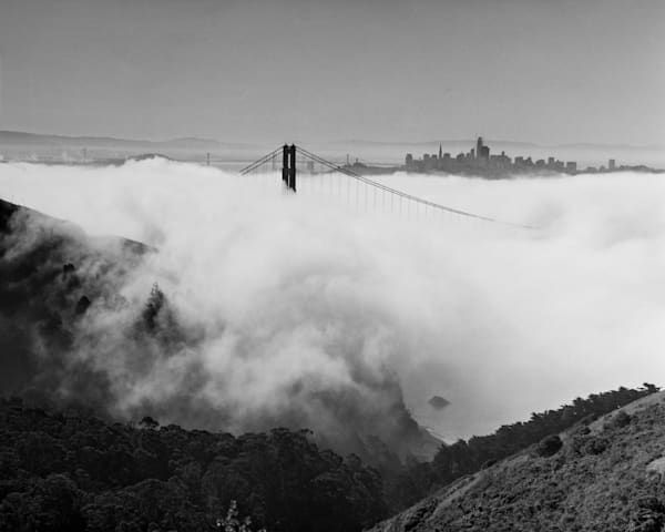 The Golden Gate Bridge and San Francisco Skyline in Fog