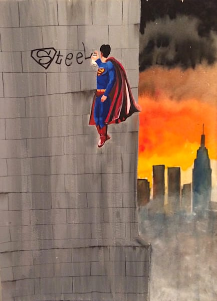 Steel Superman Painting by Brandon Sines Available from Wet Paint NYC - Original Art - New York Artist - Street Art - Affordable Original Art