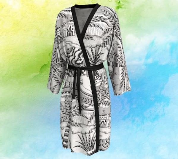 Black Desert Long Robe Peignoir