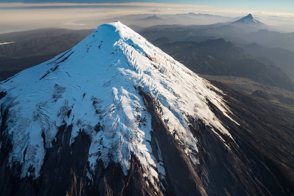 Aerial of Volcan Osorno, with Volcan Puntiagudo behind, Chile