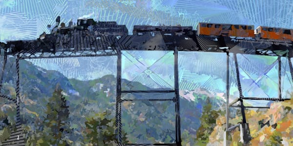 Devils Gate, Georgetown Loop Railroad, railroad art, Railroad artwork, Vector art by Peter McClard at Vectoraratlabs.com.com