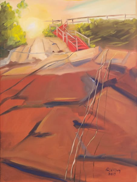Marblehead Red Stairs painting by Paul William | Fine Art for Sale