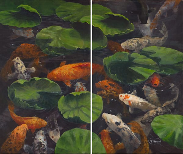 Koi In Lillies