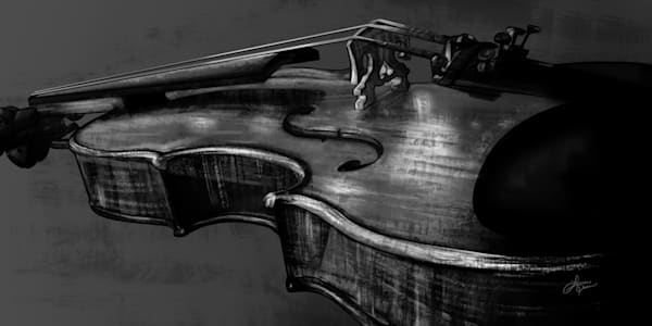 Stringed Bridge Violin Black and White Art Print