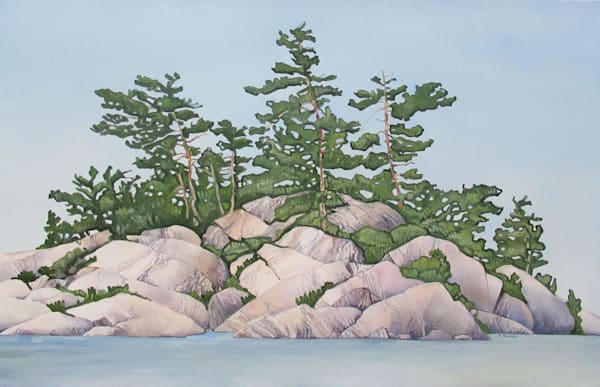 Water Rocks And Trees, Too by Brigitte Nowak | SavvyArt Market original art