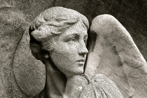 Masked Angel, photographs of arch angels, angel photography by Brad Oliphant, wings of angels,